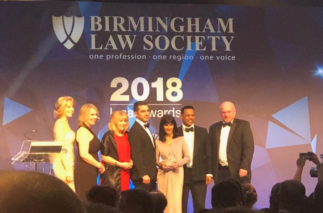 Winners Birmingham Law Society 2018 law firm of the year 5-15 partners category